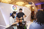 VIP Guests Shen Yanfei,Fernando Sanz and Christian Karembeu at the Laliga booth at the Sportel Asia Conference on March 15, 2016 in Singapore.