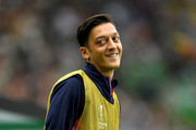 Mesut Ozil of Arsenal reacts during the UEFA Europa League Group E match between Sporting CP and Arsenal at Estadio Jose Alvalade on October 25, 2018 in Lisbon, Portugal.