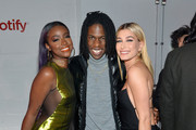 """(L-R) Justine Skye, Daniel Caesar and Hailey Baldwin attend """"Spotify's Best New Artist Party"""" at Skylight Clarkson on January 25, 2018 in New York City."""