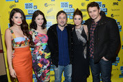 """(L-R) Actress Selena Gomez, actress Rachel Korine, director Harmony Korine, actress Ashley Benson and actor James Franco attend the green room for """"Spring Breakers"""" during the 2013 SXSW Music, Film + Interactive Festival""""  at the Paramount Theatre on March 10, 2013 in Austin, Texas."""