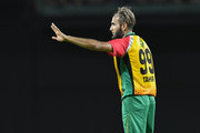 In this handout image provided by CPL T20, Imran Tahir of Guyana Amazon Warriors during match 19 of the Hero Caribbean Premier League between St Kitts & Nevis Patriots and Guyana Amazon Warriors at the Warner Park Sporting Complex on August 25, 2018 in Basseterre, St Kitts, Saint Kitts And Nevis.