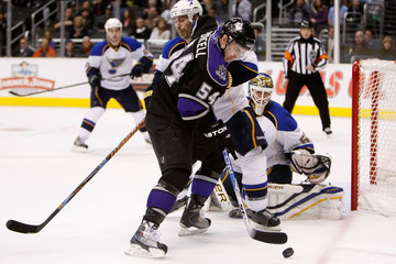 Chris Mason Barret Jackman St. Louis Blues v Los Angeles Kings