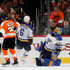 Claude Giroux Photos - Jake Allen #34 of the St. Louis Blues reacts after Claude Giroux #28 of the Philadelphia Flyers scored a goal in the first period on January 6, 2018 at Wells Fargo Center in Philadelphia, Pennsylvania. - St Louis Blues v Philadelphia Flyers