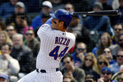 Anthony Rizzo #44 of the Chicago Cubs watches his three run home run ball leave the park in the third inning against the St. Louis Cardinals at Wrigley Field on May 03, 2019 in Chicago, Illinois.