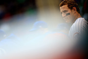 Anthony Rizzo #44 of the Chicago Cubs in dugout during the 8th inning against the St. Louis Cardinals at Wrigley Field on September 30, 2018 in Chicago, Illinois.