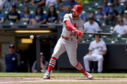 Greg Garcia #35 of the St. Louis Cardinals hits a double in the first inning against the Milwaukee Brewers at Miller Park on June 24, 2018 in Milwaukee, Wisconsin.