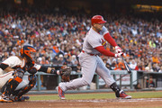 Matt Holliday #7 of the St. Louis Cardinals hits an RBI single against the San Francisco Giants during the third inning at AT&T Park on July 2, 2014 in San Francisco, California.