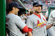 Manager Mike Matheny #26 of the St. Louis Cardinals talks with Matt Holliday #7 before the game against the Washington Nationals at Nationals Park on April 21, 2015 in Washington, DC.