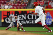 Greg Garcia #35 of the St. Louis Cardinals fields a ground ball in the 11th inning against the Cincinnati Reds at Great American Ball Park on July 24, 2018 in Cincinnati, Ohio. St. Louis defeated Cincinnati 4-2 in 11 innings.