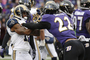 Cornerback Jimmy Smith #22 of the Baltimore Ravens pushes wide receiver Tavon Austin #11 of the St. Louis Rams in the first quarter at M&T Bank Stadium on November 22, 2015 in Baltimore, Maryland.