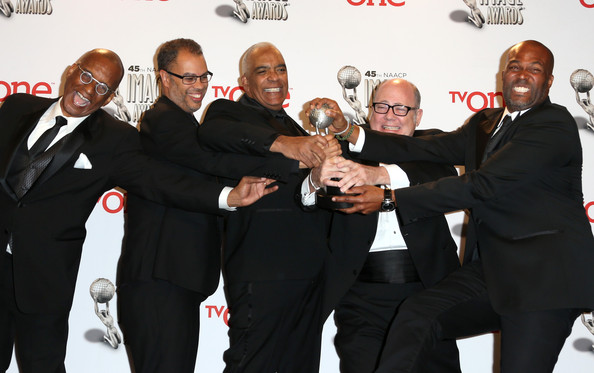 45th NAACP Image Awards Presented By TV One - Press Room [premiere,event,bodyguard,suit,formal wear,gesture,producers,stan lathan,tim gibbons,real husbands of hollywood ralph farquhar,l-r,room,press room,pasadena civic auditorium,tv one,naacp image awards]