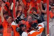 Danny Briere #48 and Claude Giroux #28 of the Philadelphia Flyers celebrate after Briere scored a goal in the first period against the Chicago Blackhawks in Game Three of the 2010 NHL Stanley Cup Final at Wachovia Center on June 2, 2010 in Philadelphia, Pennsylvania.