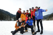 (L-R) Thomas Heinze, Joachim Llambl, Miroslav Nemec, Matthias Opdenhoevel, Oliver Mommsen, Ulla Kock am Brink, Lars Riedel and Marco Schreyl attend the photocall for the tv show Star Biathlon 2014 on January 30, 2014 in Garmisch-Partenkirchen, Germany.