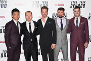 "(L-R) John Cho, Simon Pegg, Chris Pine, Karl Urban and Zachary Quinto attend the UK Premiere of Paramount Pictures ""Star Trek Beyond"" at the Empire Leicester Square on July 12, 2016 in London, England."