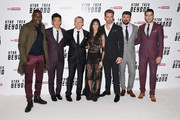 "(L-R) Idris Elba, John Cho, Simon Pegg, Sofia Boutella, Chris Pine, Karl Urban and Zachary Quinto attend the UK Premiere of Paramount Pictures ""Star Trek Beyond"" at the Empire Leicester Square on July 12, 2016 in London, England."