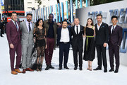 "(L-R) Zachary Quinto, Karl Urban, Sofia Boutella, Idris Elba, director Justin Lin, Simon Pegg, Lydia Wilson, Chris Pine and John Cho attend the UK Premiere of Paramount Pictures ""Star Trek Beyond"" at the Empire Leicester Square on July 12, 2016 in London, England."