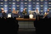 (L-R) Moderator, film critic Jordan Hoffman, and actors John Billingsley, Dominic Keating, Anthony Montgomery and Connor Trinneer from Star Trek: Enterprise take part in a panel discussion during Star Trek: Mission New York at Javits Center on September 2, 2016 in New York City.