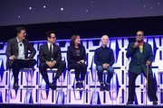 "(L-R) Moderator Stephen Colbert, Director J.J. Abrams, Producer Kathleen Kennedy, Anthony Daniels (C-3PO) and Billy Dee Williams (Lando Calrissian) onstage during ""The Rise of Skywalker"" panel at the Star Wars Celebration at McCormick Place Convention Center on April 12, 2019 in Chicago, Illinois."