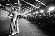 This image has been shot in black and white) Actor Gwendoline Christie at Star Wars: The Last Jedi Premiere at The Shrine Auditorium on December 9, 2017 in Los Angeles, California.