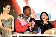 "Daisy Ridley, John Boyega and Kelly Marie Tran participate in the global press conference for ""Star Wars:  The Rise of Skywalker"" at the Pasadena Convention Center on December 04, 2019 in Pasadena, California."