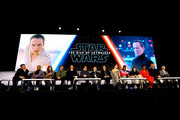 "(L-R) Richard E. Grant, Billy Dee Williams, Keri Russell, Oscar Isaac, Adam Driver, Writer/director J.J. Abrams, Co-writer Chris Terrio, Producer and President of Lucasfilm Kathleen Kennedy, Daisy Ridley, John Boyega, Kelly Marie Tran, Naomi Ackie, Joonas Suotamo and Anthony Daniels participate in the global press conference for ""Star Wars:  The Rise of Skywalker"" at the Pasadena Convention Center on December 04, 2019 in Pasadena, California."