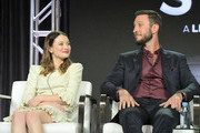 Emily Browning and Pablo Schreiber of 'American Gods' speak onstage during Starz 2019 Winter TCA Panel & All-Star After Party on February 12, 2019 in Los Angeles, California.
