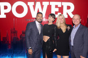 """Omari Hardwick, Jennifer Pfautch, Tina Trahan and STARZ CEO Chris Albrecht attend the Starz """"Power"""" The Fifth Season NYC Red Carpet Premiere Event & After Party on June 28, 2018 in New York City."""