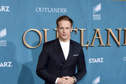 "Sam Heughan attends the Starz Premiere event for ""Outlander"" Season 5 at Hollywood Palladium on February 13, 2020 in Los Angeles, California."