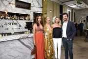 (L-R) Lala Kent, Stassi Schroeder, Kristen Doute, and Beau Clark pose as Stassi Schroeder presents: Outfit Of The Day Collection exclusively on JustFab, on #NationalOOTDDay at Norah on June 25, 2019 in West Hollywood, California.