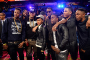 (L-R) Fabolous, Janelle Monae, Sean Combs, Kevin Hart, Nelly, and Kendrick Lamar attend the State Farm All-Star Saturday Night during the NBA All-Star Weekend 2014 at The Smoothie King Center on February 15, 2014 in New Orleans, Louisiana.
