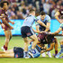 Greg Inglis Tom Trbojevic Photos - A melee breaks out after Greg Inglis of the Maroons tackled Tom Trbojevic of the Blues during game one of the State Of Origin series between the Queensland Maroons and the New South Wales Blues at the Melbourne Cricket Ground on June 6, 2018 in Melbourne, Australia. - State Of Origin I - QLD Vs. NSW