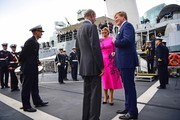 Prince Edward, Duke of Kent (C) meets King Willem-Alexander and Queen Maxima of the Netherlands on HMS Belfast in London during an on-the-water capability demonstration between the Royal Netherlands Marine Corps and the Royal Marines on October 24, 2018 in London, England. King Willem-Alexander of the Netherlands accompanied by Queen Maxima are staying at Buckingham Palace during their two day stay in the UK. The last State Visit from the Netherlands was by Queen Beatrix and Prince Claus in 1982.