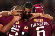 Greg Inglis of the Maroons congratulates Josh Papalii of the Maroons after scoring a try with team mate Johnathan Thurston during game three of the State of Origin series between the Queensland Maroons and the New South Wales Blues at Suncorp Stadium on July 8, 2015 in Brisbane, Australia.