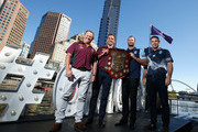 Maroons Coach Kevin Walters, Maroons Captain Cameron, Blues Captain Boyd Cordner and Blues Coach Brad Fittler pose for a photo during the 2018 State of Origin launch at Arbory Afloat on April 3, 2018 in Melbourne, Australia.