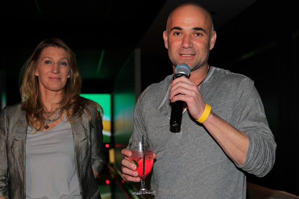 ... steffi graf tennis legends andre agassi r and steffi graf address the