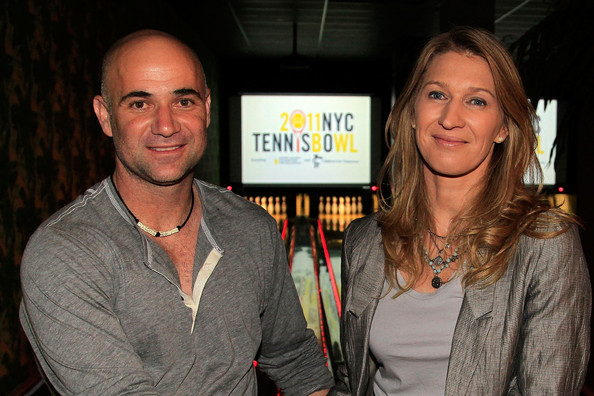 ... steffi graf tennis legends andre agassi l and steffi graf attend the