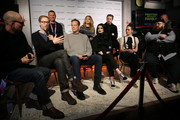 """(Back row L-R) Kevin Misher, Florence Pugh, Jack Lowden, (front row L-R) Dominic Patten Stephen Merchant, Vince Vaughn, WWE Superstar Paige, Lena Headey, and Nick Frost speak onstage during the Stella Artois & Deadline Sundance Series at Stella's Film Lounge: A Live Q&A with the filmmakers and cast of """"Fighting With My Family"""" at Stella's Film Lounge on January 28, 2019 in Park City, Utah."""