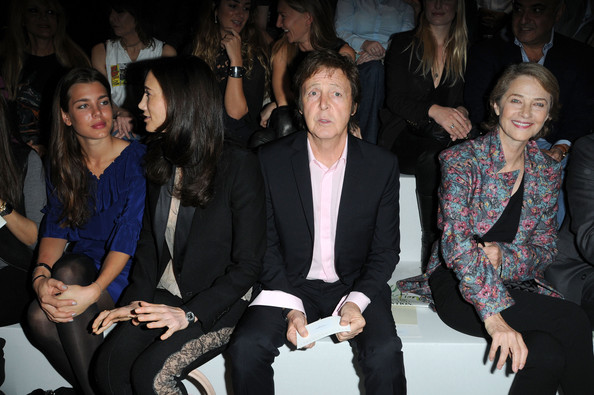Charlotte Casiraghi (L-R) Charlotte Casiraghi, Nancy Shevell, Paul McCartney and Charlotte Rampling attend the Stella McCartney Pret a Porter show as part of the Paris Womenswear Fashion Week Spring/Summer 2010 at Palais De Tokyo on October 5, 2009 in Paris, France.