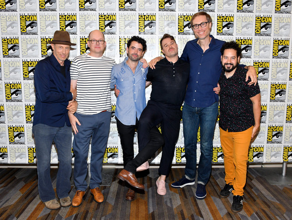 Comic-Con International 2018 - Adult Swim's 'Dream Corp LLC' Press Line [social group,yellow,team,event,fun,photography,jeans,family,stephen merchant,daniel stessen,nicholas rutherford,mark proksch,jon gries,ahmed bharoocha,press line,l-r,dream corp llc,comic-con international 2018 - adult swim]
