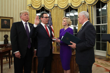Steven Mnuchin Steven Mnuchin Sworn In As Treasury Secretary