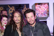 Steven Tyler and Mark Wahlberg attend Steven Tyler?s Second Annual GRAMMY Awards Viewing Party to benefit Janie?s Fund presented by Live Nation at Raleigh Studios on February 10, 2019 in Los Angeles, California. at Raleigh Studios on February 10, 2019 in Los Angeles, California.