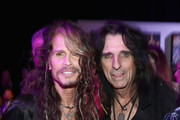 Steven Tyler and Alice Cooper attend Steven Tyler?s Second Annual GRAMMY Awards Viewing Party to benefit Janie?s Fund presented by Live Nation at Raleigh Studios on February 10, 2019 in Los Angeles, California. at Raleigh Studios on February 10, 2019 in Los Angeles, California.