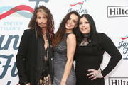 Steven Tyler, Chelsea Tyler and Mia Tyler attend Steven Tyler?s Second Annual GRAMMY Awards Viewing Party to benefit Janie?s Fund presented by Live Nation at Raleigh Studios on February 10, 2019 in Los Angeles, California.