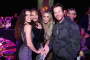 Mia Tyler, Steven Tyler, Aimee Preston and Mark Wahlberg attend Steven Tyler?s Second Annual GRAMMY Awards Viewing Party to benefit Janie?s Fund presented by Live Nation at Raleigh Studios on February 10, 2019 in Los Angeles, California. at Raleigh Studios on February 10, 2019 in Los Angeles, California.