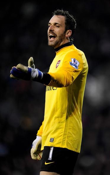 Manuel Almunia Manuel Almunia of Arsenal gestures during the Barclays Premier League match between Stoke City and Arsenal at The Britannia Stadium on February 27, 2010 in Stoke on Trent, England.