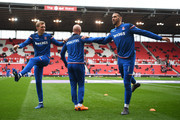 Darren Fletcher, Stephen Ireland and Geoff Cameron of Stoke City warm up prior to the Premier League match between Stoke City and Burnley at Bet365 Stadium on April 22, 2018 in Stoke on Trent, England.