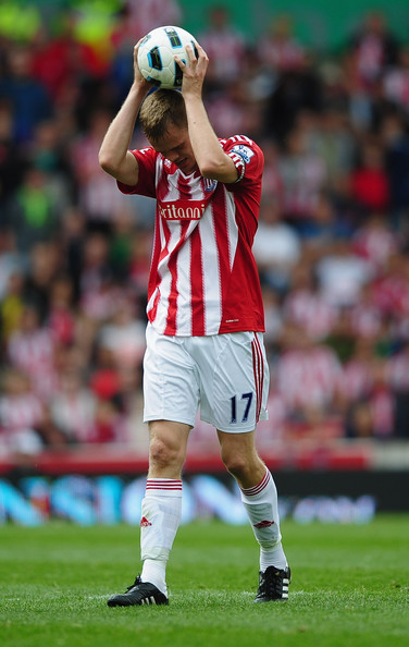 Ryan Shawcross of Stoke shows his frustration during the Barclays Premier League match between Stoke City and Tottenham Hotspur at the Britannia Stadium on August 21, 2010 in Stoke on Trent, England.