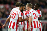 Maxim Choupo-Moting of Stoke City celebrates with teammates after scoring his sides second goal during the Premier League match between Stoke City and West Bromwich Albion at Bet365 Stadium on December 23, 2017 in Stoke on Trent, England.