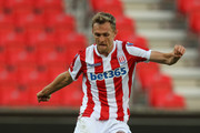 Darren Fletcher of Stoke City passes the ball during the pre-season friendly match between Stoke City and Wolverhampton Wanderers at the Bet365 Stadium on July 25, 2018 in Stoke on Trent, England.