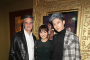 """(L-R) Ross Partridge, Karen Fukuhara and Miyavi attend the """"Stray"""" World Premiere on February 25, 2019 in Los Angeles, California."""